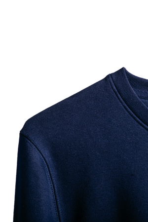 Detail image of our navy organic Morcant sweater, magnifying the shoulder and neck seams as well as the inky tone.