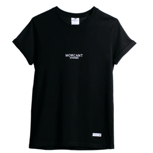 Full shot image of our black organic Morcant t-shirt, featuring minimal Morcant Johannes embroidered centrally and a branded Morcant patch.