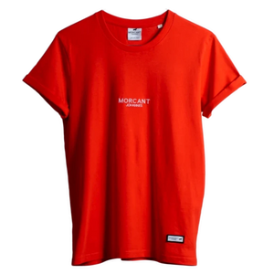 Full shot image of our red organic Morcant t-shirt, featuring minimal Morcant Johannes embroidered centrally and a branded Morcant patch.