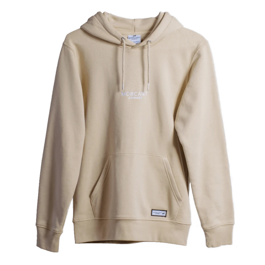 Full shot image of our sand organic Morcant hoodie, featuring minimal Morcant Johannes embroidered centrally and a branded Morcant patch.