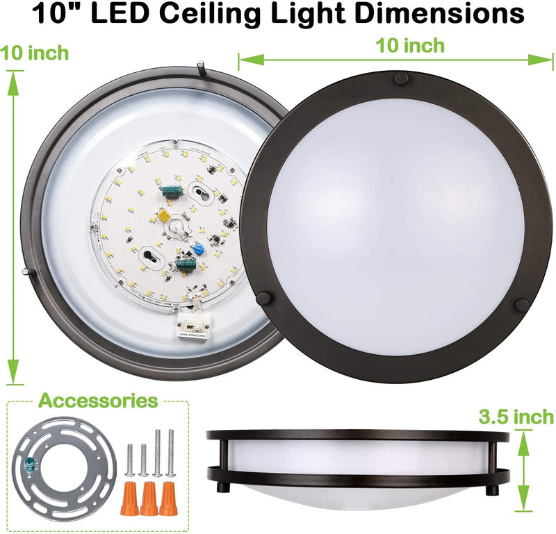 Bronze LED Flush Mount Ceiling Light - 10 inch - 17W - Dimmable