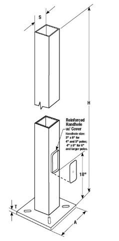 Square Steel Anchor Based Pole - Lighting of Tomorrow