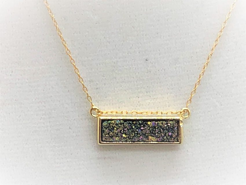 Wheat gold-druzy-rectangle Necklace Gold Druzy Rectangle