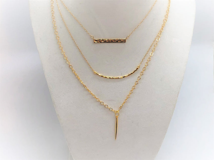 Layering Gold Plated Necklaces, Bar Smile and Dagger