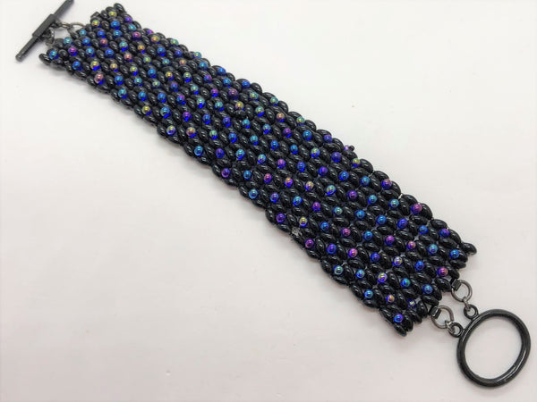 Black and Purple X&O hand sewn bracelet