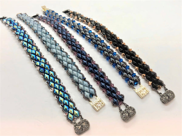 Dark Slate Gray Diamond and Crystal Trail Bracelet diamond-and-crystal-trail-bracelet Bracelet