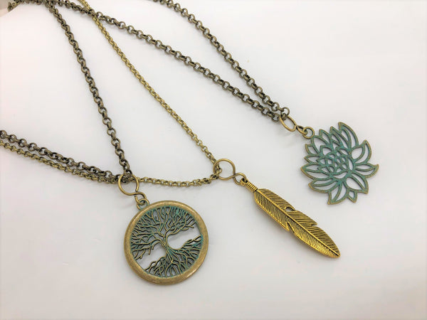 Brass Strength Pendant Necklaces