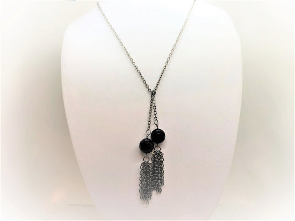 Light Gray black-onyx-lariat Necklace Black Onyx Lariat