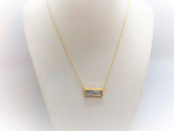 Gray Gold Druzy Rectangle gold-druzy-rectangle Necklace
