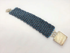 Blue and Gunmetal X&O hand sewn bracelet - Emmis Jewelry, Bracelets, [product_color]
