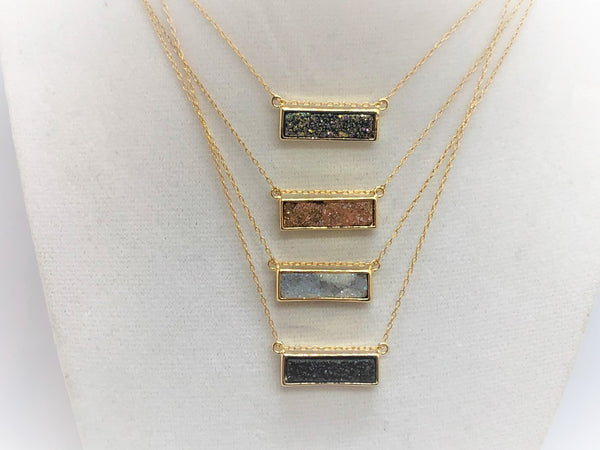 Rosy Brown Gold Druzy Rectangle gold-druzy-rectangle Necklace
