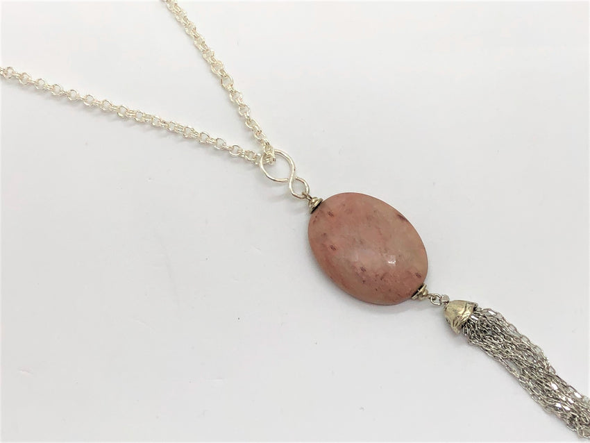 Dim Gray Rhodonite Pendant Tassel Silver Plated Necklace rhodonite-pendant-tassel-silver-plated-necklace Necklace
