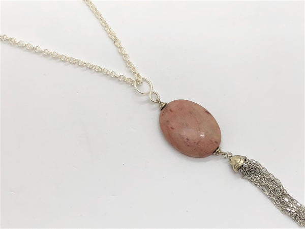 Dim Gray rhodonite-pendant-tassel-silver-plated-necklace Necklace Rhodonite Pendant Tassel Silver Plated Necklace