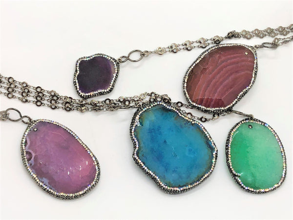 Steel Blue Smooth Agate Slice with Rhinestones smooth-agate-slice-with-rhinestones Necklace