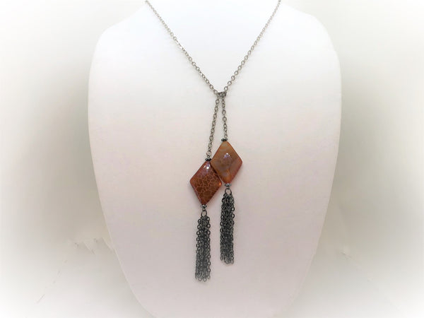 Gray red-agate-diamond-tassel-lariat Necklace Red Agate Diamond Tassel Lariat