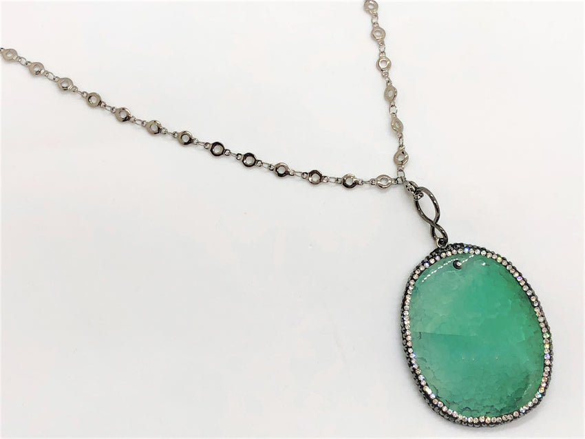 Medium Sea Green smooth-agate-slice-with-rhinestones Necklace Smooth Agate Slice with Rhinestones