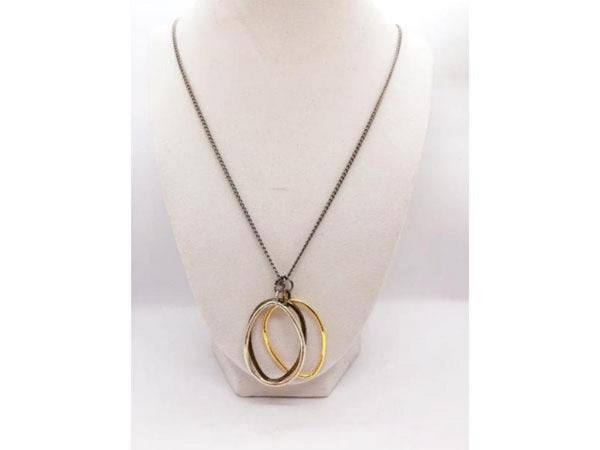 Three ring necklace brass gold silver