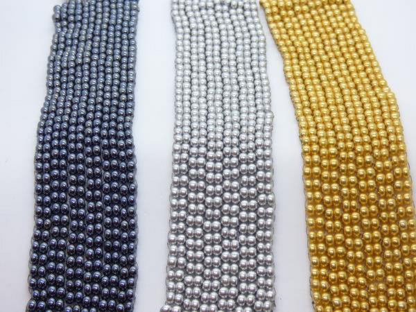 Looks like metal handsewn glass bead bracelet silver, grey, gold, black, gunmetal