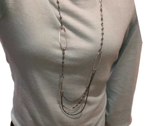 Dim Gray Triple Chain Necklace triple-chain-necklace Necklace