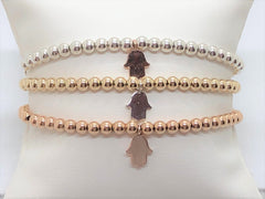 Mini Hamsa Stretch Gold Fill, Sterling Silver or Rose Gold Bracelet - Emmis Jewelry,