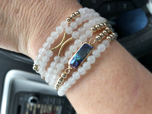 Gold and Pearl Stretch Bracelet - Emmis Jewelry,