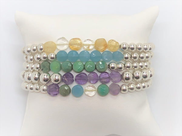 Silver Stretch Bracelet with Gemstone Coins - Emmis Jewelry, Bracelets, [product_color]