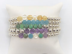 Silver Stretch with Gemstone Flat Coin Bracelets