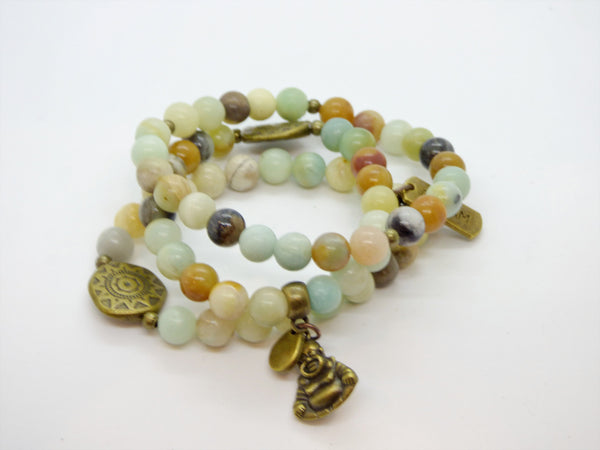 Rosy Brown Amazonite and Ocean Jasper Single Bracelet amazonite-and-ocean-jasper-single-bracelet Bracelets