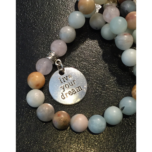 Dark Slate Gray Amazonite and Rose Quartz Wrap amazonite-and-rose-quartz-buddha-wrap Necklace, Bracelet
