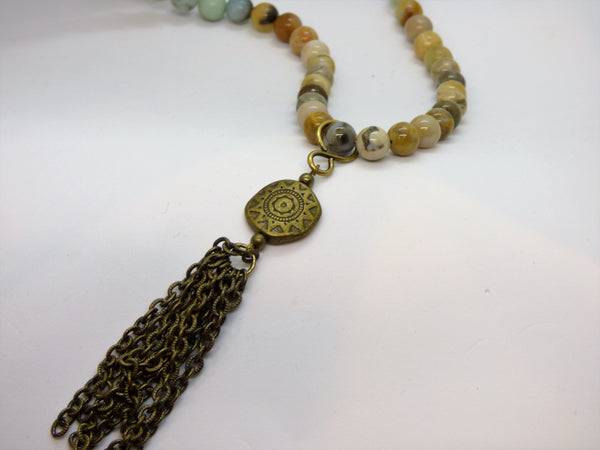 Amazonite and Ocean Jasper Long Necklace
