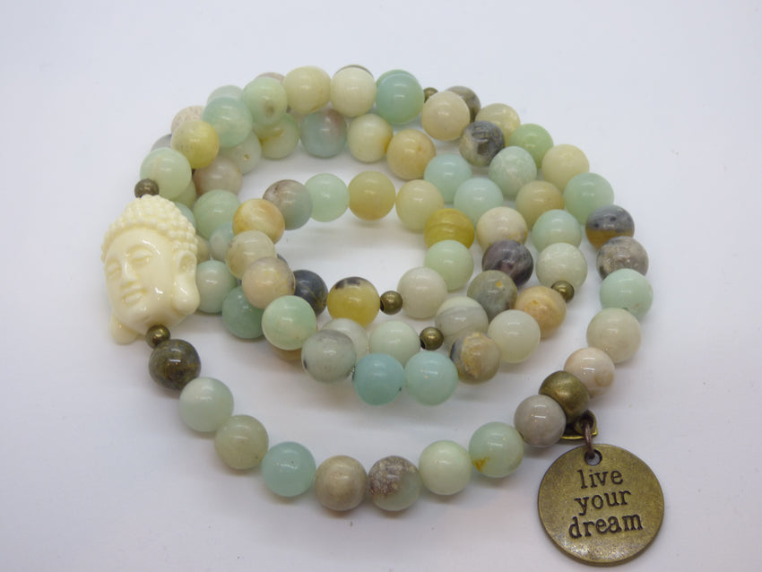 Rosy Brown amazonite-and-ocean-jasper-wrap Necklace, Bracelet Amazonite and Ocean Jasper Wrap