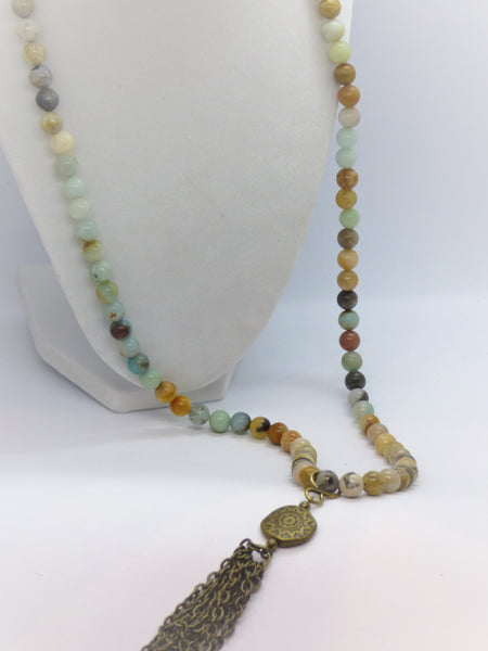 Amazonite and Ocean Jasper Long Necklace - Emmis Jewelry,