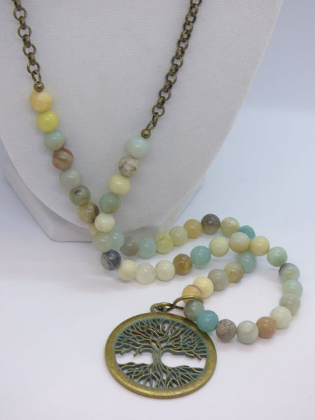 Dark Gray Tree of Life Amazonite and Brass Pendant Necklace tree-of-life-amazonite-and-brass-pendant-necklace Necklace