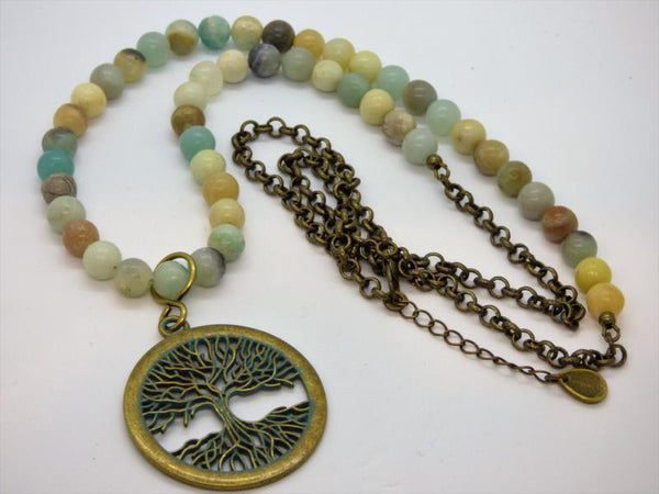 Tree of Life Amazonite and Brass Pendant Necklace - Emmis Jewelry,