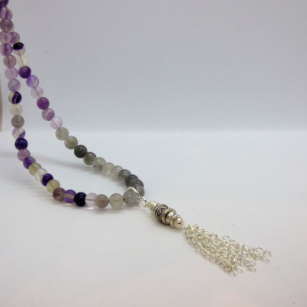 Light Gray fluorite-and-cloud-quartz-long-necklace neck Fluorite and Cloud Quartz Long Necklace