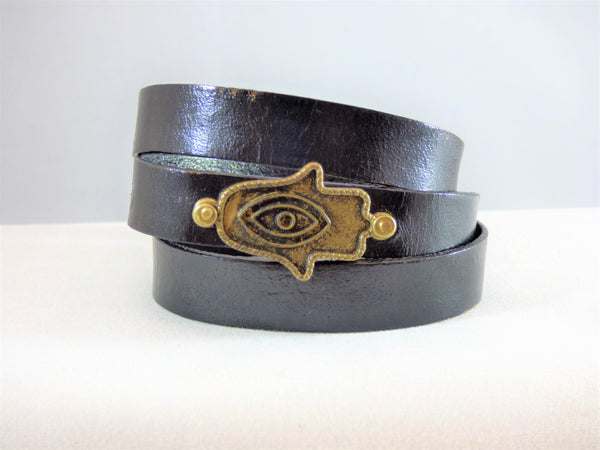 Dim Gray Leather Hamsa Bracelets leather-hamsa-bracelets Bracelet