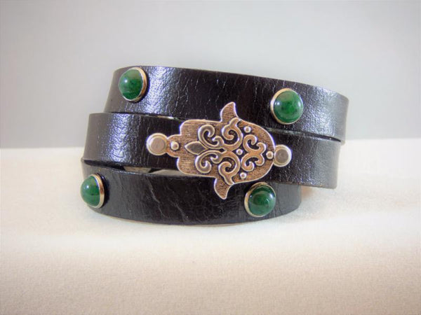 black-leather-with-green-turquoise-with-a-hamsa