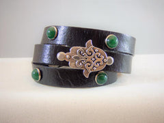 Black Brown Turquoise Green, Red or Blue Studs Leather Wrap or Single Bracelet