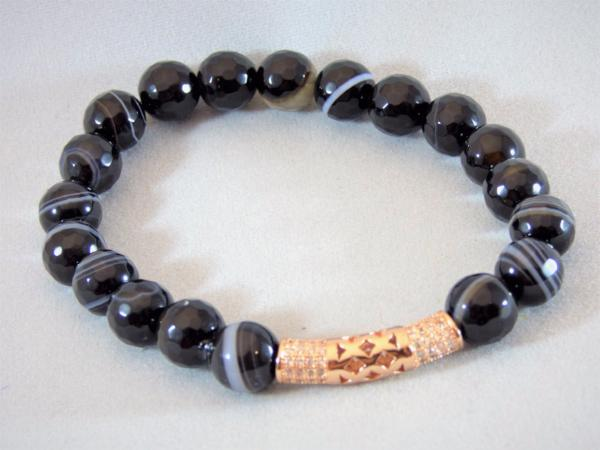 Black Agate Tube Bracelet - Emmis Jewelry,