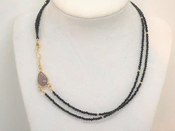 Teardrop Double Mini Faceted Black Onyx Necklace - Emmis Jewelry,