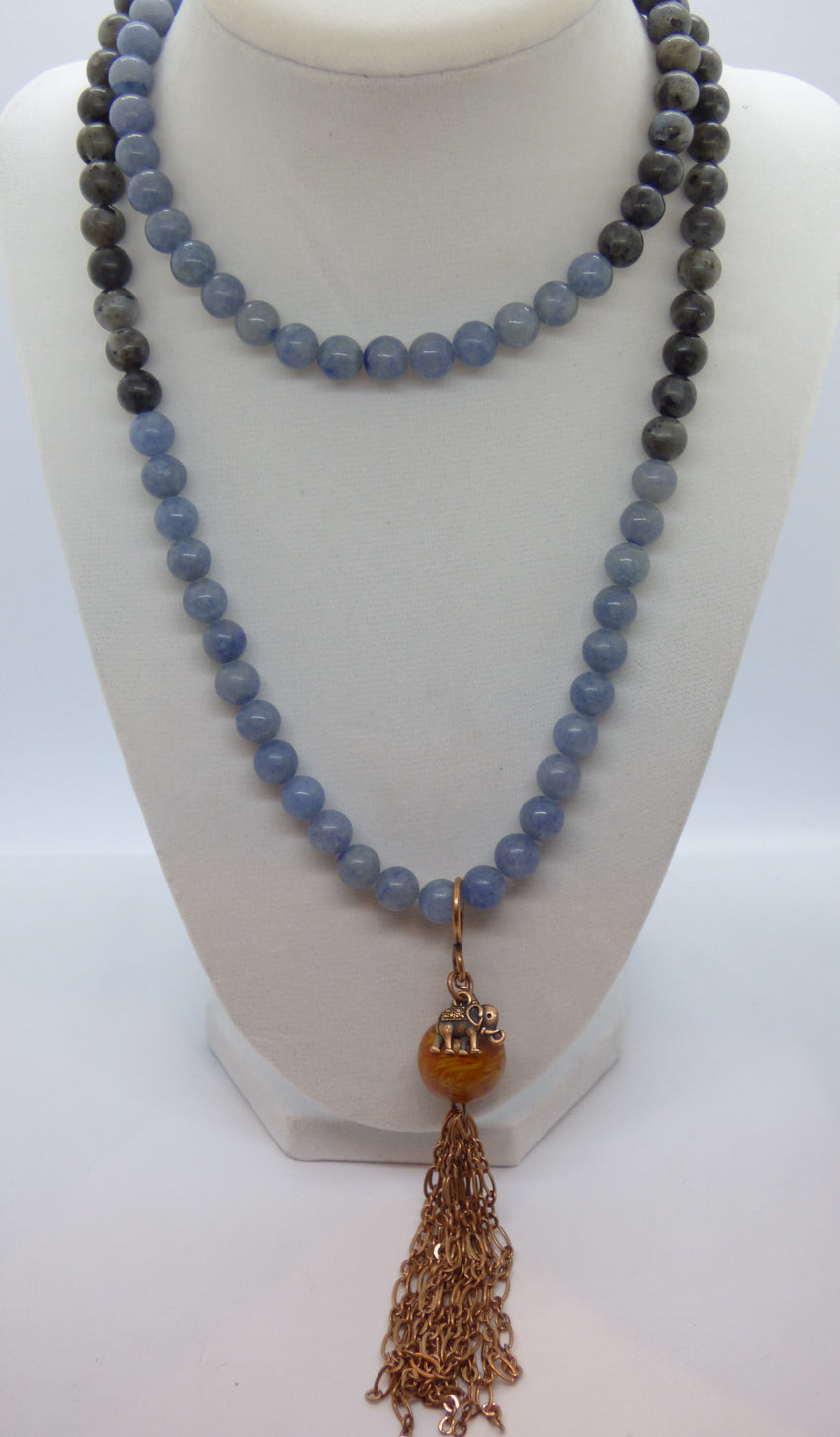 Quartz and Labradorite Long Necklace