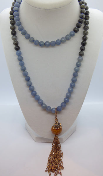 Dark Gray quartz-and-labradorite-long-necklace Necklace Quartz and Labradorite Long Necklace
