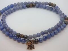 Light Gray Labradorite and Blue Quartz Wrap labradorite-and-blue-quartz-wrap Necklace, Bracelet
