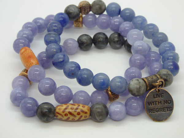 Labradorite and Blue Quartz Single Stretch Bracelets - Emmis Jewelry,