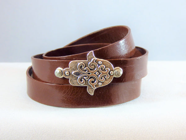 Saddle Brown Leather Hamsa Bracelets leather-hamsa-bracelets Bracelet