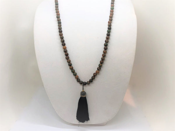 Gray Long Beaded DZI Agate Necklaces long-beaded-dzi-agate-necklaces Necklace