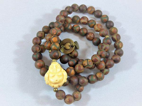 Dark Olive Green matte-brown-agate-wrap Necklace, Bracelet Matte Brown Agate Wrap