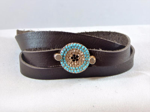 Dark Slate Gray deertan-leather-wrap-with-a-micro-pave-embellishment Bracelet Deertan Leather Wrap with a Micro Pave Embellishment