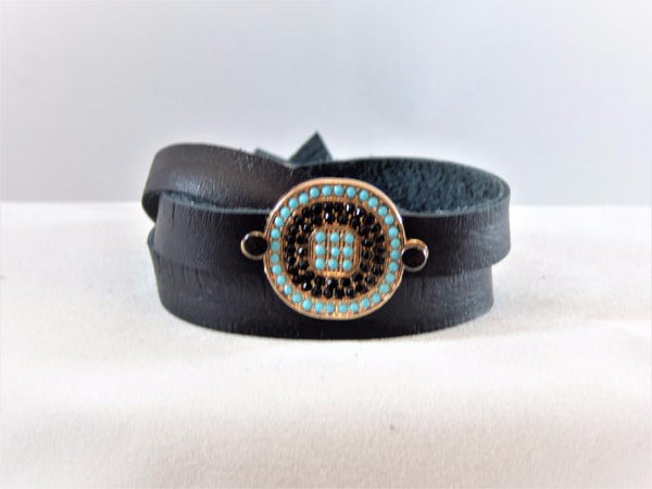 Dark Slate Gray Deertan Leather Wrap with a Micro Pave Embellishment deertan-leather-wrap-with-a-micro-pave-embellishment Bracelet