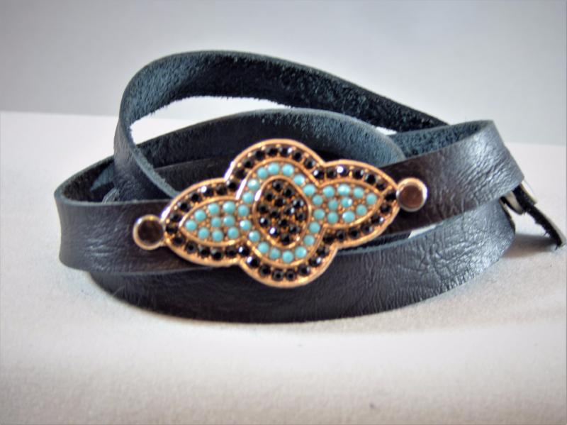 Brown Black Deertan Leather Wrap Bracelet with a Micro Pave Riveted Embellishment
